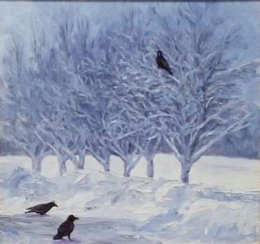 snowy trees and ravens